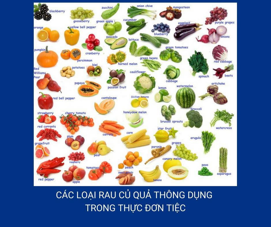 Thuc Don Tiec Bang Tieng Anh Va Cac Tu Thong Dung Can Biet Ve Mon An Cac Loai Rau Cu Qua Thong Dung Trong Thuc Don Tiec